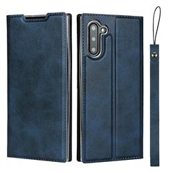 Calf Pattern Magnetic Automatic Suction Leather Wallet Case for Samsung Galaxy Note 10 (6.28 inch) / Note10 5G - Blue