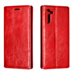Retro Slim Magnetic Crazy Horse PU Leather Wallet Case for Samsung Galaxy Note 10 (6.28 inch) / Note10 5G - Red