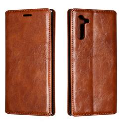 Retro Slim Magnetic Crazy Horse PU Leather Wallet Case for Samsung Galaxy Note 10 (6.28 inch) / Note10 5G - Brown