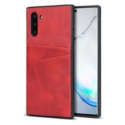 Simple Calf Card Slots Mobile Phone Back Cover for Samsung Galaxy Note 10 (6.28 inch) / Note10 5G - Red
