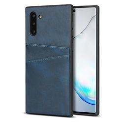 Simple Calf Card Slots Mobile Phone Back Cover for Samsung Galaxy Note 10 (6.28 inch) / Note10 5G - Blue