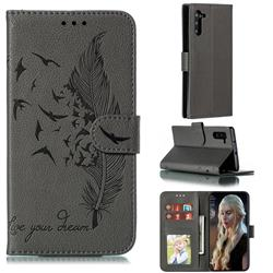 Intricate Embossing Lychee Feather Bird Leather Wallet Case for Samsung Galaxy Note 10 (6.28 inch) / Note10 5G - Gray
