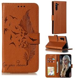 Intricate Embossing Lychee Feather Bird Leather Wallet Case for Samsung Galaxy Note 10 (6.28 inch) / Note10 5G - Brown