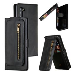Multifunction 9 Cards Leather Zipper Wallet Phone Case for Samsung Galaxy Note 10 (6.28 inch) / Note10 5G - Black