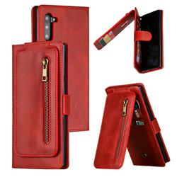 Multifunction 9 Cards Leather Zipper Wallet Phone Case for Samsung Galaxy Note 10 (6.28 inch) / Note10 5G - Red
