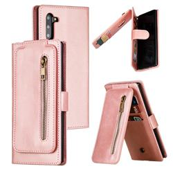 Multifunction 9 Cards Leather Zipper Wallet Phone Case for Samsung Galaxy Note 10 (6.28 inch) / Note10 5G - Rose Gold