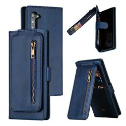 Multifunction 9 Cards Leather Zipper Wallet Phone Case for Samsung Galaxy Note 10 (6.28 inch) / Note10 5G - Blue