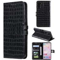 Luxury Crocodile Magnetic Leather Wallet Phone Case for Samsung Galaxy Note 10 (6.28 inch) / Note10 5G - Black