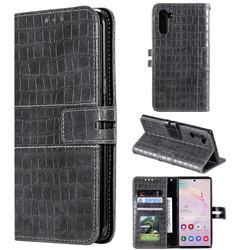 Luxury Crocodile Magnetic Leather Wallet Phone Case for Samsung Galaxy Note 10 (6.28 inch) / Note10 5G - Gray