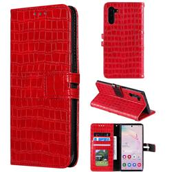 Luxury Crocodile Magnetic Leather Wallet Phone Case for Samsung Galaxy Note 10 (6.28 inch) / Note10 5G - Red