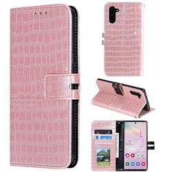 Luxury Crocodile Magnetic Leather Wallet Phone Case for Samsung Galaxy Note 10 (6.28 inch) / Note10 5G - Rose Gold