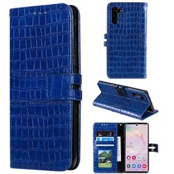 Luxury Crocodile Magnetic Leather Wallet Phone Case for Samsung Galaxy Note 10 (6.28 inch) / Note10 5G - Blue