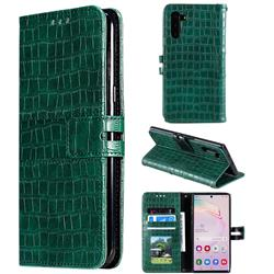 Luxury Crocodile Magnetic Leather Wallet Phone Case for Samsung Galaxy Note 10 (6.28 inch) / Note10 5G - Green