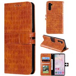 Luxury Crocodile Magnetic Leather Wallet Phone Case for Samsung Galaxy Note 10 (6.28 inch) / Note10 5G - Brown