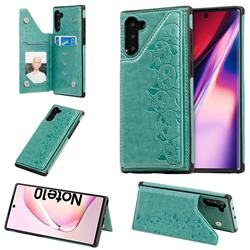 Yikatu Luxury Cute Cats Multifunction Magnetic Card Slots Stand Leather Back Cover for Samsung Galaxy Note 10 (6.28 inch) / Note10 5G - Green