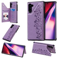 Yikatu Luxury Cute Cats Multifunction Magnetic Card Slots Stand Leather Back Cover for Samsung Galaxy Note 10 (6.28 inch) / Note10 5G - Purple