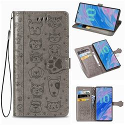 Embossing Dog Paw Kitten and Puppy Leather Wallet Case for Samsung Galaxy Note 10 (6.28 inch) / Note10 5G - Gray