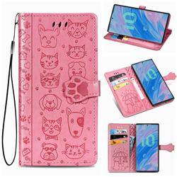 Embossing Dog Paw Kitten and Puppy Leather Wallet Case for Samsung Galaxy Note 10 (6.28 inch) / Note10 5G - Pink