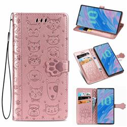 Embossing Dog Paw Kitten and Puppy Leather Wallet Case for Samsung Galaxy Note 10 (6.28 inch) / Note10 5G - Rose Gold