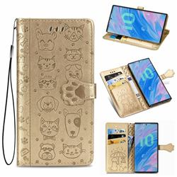 Embossing Dog Paw Kitten and Puppy Leather Wallet Case for Samsung Galaxy Note 10 (6.28 inch) / Note10 5G - Champagne Gold