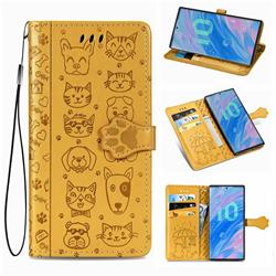 Embossing Dog Paw Kitten and Puppy Leather Wallet Case for Samsung Galaxy Note 10 (6.28 inch) / Note10 5G - Yellow