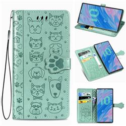 Embossing Dog Paw Kitten and Puppy Leather Wallet Case for Samsung Galaxy Note 10 (6.28 inch) / Note10 5G - Green