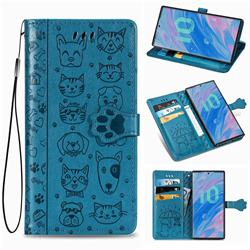 Embossing Dog Paw Kitten and Puppy Leather Wallet Case for Samsung Galaxy Note 10 (6.28 inch) / Note10 5G - Blue