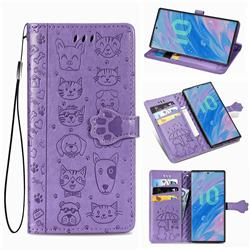 Embossing Dog Paw Kitten and Puppy Leather Wallet Case for Samsung Galaxy Note 10 (6.28 inch) / Note10 5G - Purple