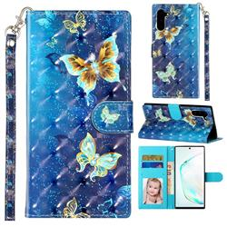 Rankine Butterfly 3D Leather Phone Holster Wallet Case for Samsung Galaxy Note 10 (6.28 inch) / Note10 5G