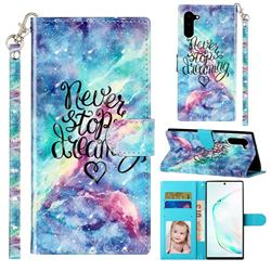 Blue Starry Sky 3D Leather Phone Holster Wallet Case for Samsung Galaxy Note 10 (6.28 inch) / Note10 5G