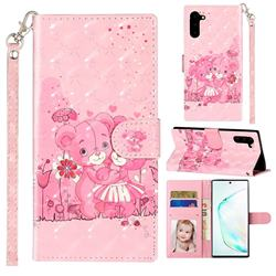 Pink Bear 3D Leather Phone Holster Wallet Case for Samsung Galaxy Note 10 (6.28 inch) / Note10 5G