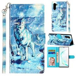 Snow Wolf 3D Leather Phone Holster Wallet Case for Samsung Galaxy Note 10 (6.28 inch) / Note10 5G