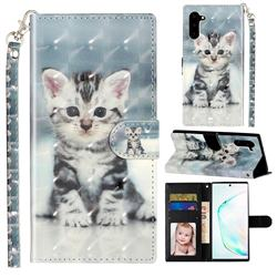 Kitten Cat 3D Leather Phone Holster Wallet Case for Samsung Galaxy Note 10 (6.28 inch) / Note10 5G