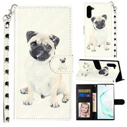 Pug Dog 3D Leather Phone Holster Wallet Case for Samsung Galaxy Note 10 (6.28 inch) / Note10 5G