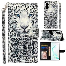 White Leopard 3D Leather Phone Holster Wallet Case for Samsung Galaxy Note 10 (6.28 inch) / Note10 5G