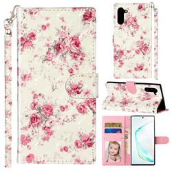 Rambler Rose Flower 3D Leather Phone Holster Wallet Case for Samsung Galaxy Note 10 (6.28 inch) / Note10 5G