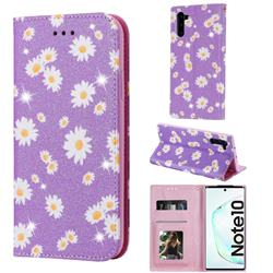 Ultra Slim Daisy Sparkle Glitter Powder Magnetic Leather Wallet Case for Samsung Galaxy Note 10 (6.28 inch) / Note10 5G - Purple