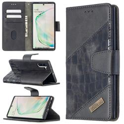 BinfenColor BF04 Color Block Stitching Crocodile Leather Case Cover for Samsung Galaxy Note 10 (6.28 inch) / Note10 5G - Black