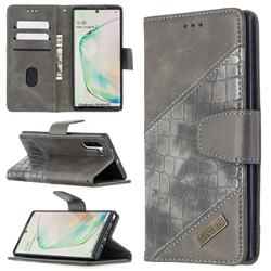 BinfenColor BF04 Color Block Stitching Crocodile Leather Case Cover for Samsung Galaxy Note 10 (6.28 inch) / Note10 5G - Gray