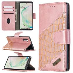 BinfenColor BF04 Color Block Stitching Crocodile Leather Case Cover for Samsung Galaxy Note 10 (6.28 inch) / Note10 5G - Rose Gold
