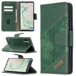 BinfenColor BF04 Color Block Stitching Crocodile Leather Case Cover for Samsung Galaxy Note 10 (6.28 inch) / Note10 5G - Green
