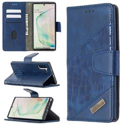 BinfenColor BF04 Color Block Stitching Crocodile Leather Case Cover for Samsung Galaxy Note 10 (6.28 inch) / Note10 5G - Blue