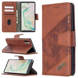 BinfenColor BF04 Color Block Stitching Crocodile Leather Case Cover for Samsung Galaxy Note 10 (6.28 inch) / Note10 5G - Brown