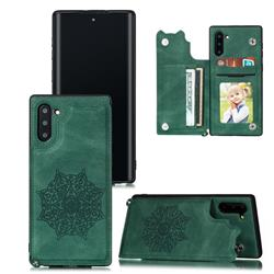 Luxury Mandala Multi-function Magnetic Card Slots Stand Leather Back Cover for Samsung Galaxy Note 10 (6.28 inch) / Note10 5G - Green