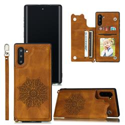 Luxury Mandala Multi-function Magnetic Card Slots Stand Leather Back Cover for Samsung Galaxy Note 10 (6.28 inch) / Note10 5G - Brown