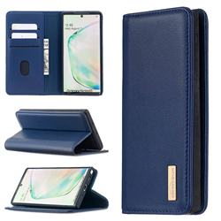 Binfen Color BF06 Luxury Classic Genuine Leather Detachable Magnet Holster Cover for Samsung Galaxy Note 10 (6.28 inch) / Note10 5G - Blue