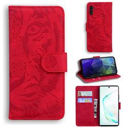 Intricate Embossing Tiger Face Leather Wallet Case for Samsung Galaxy Note 10 (6.28 inch) / Note10 5G - Red