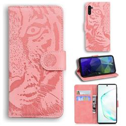 Intricate Embossing Tiger Face Leather Wallet Case for Samsung Galaxy Note 10 (6.28 inch) / Note10 5G - Pink