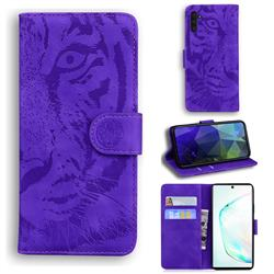 Intricate Embossing Tiger Face Leather Wallet Case for Samsung Galaxy Note 10 (6.28 inch) / Note10 5G - Purple