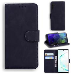 Retro Classic Skin Feel Leather Wallet Phone Case for Samsung Galaxy Note 10 (6.28 inch) / Note10 5G - Black